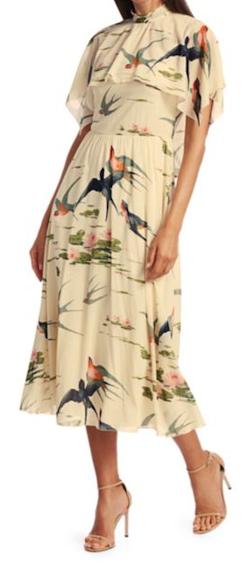 RED VALENTINO White Abito Rondini Printed Stretch-silk Midi Dress