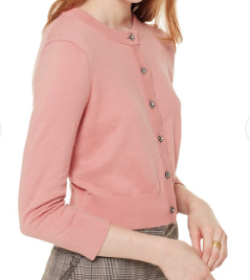 kate spade new york FADED PEONY JEWEL BUTTON CROPPED CARDIGAN