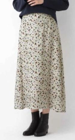 HUMAN WOMAN(ヒューマンウーマン)キュプラシルクローンプリントスカート