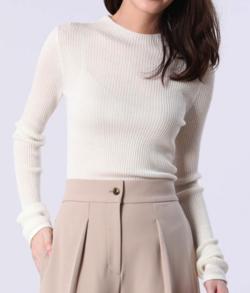 PLST(プラステ)ウールブレンドリブハイネックセーター