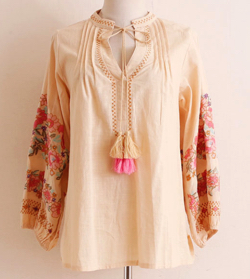 Sawa a la mode 鮮やか花柄とフリンジ付シャツ