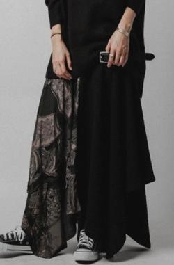 antiqua 異素材変形スカート