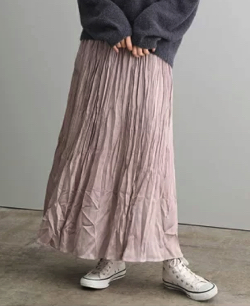 SALON adam et rope' サテン楊柳プリーツスカート