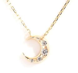 Sweets Jewelry MarketK10YG(イエローゴールド) ダイヤモンド 0.07ct ムーン (月) ネックレス ペンダント