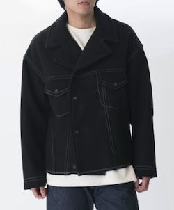 KURO Melton Color Stitching Jacket / Black