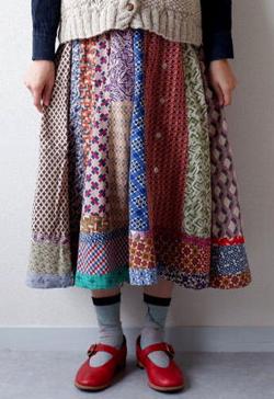 TIGRE BROCANTE(ティグルブロカンテ)ロータスシャツミックススカート