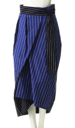ENFOLD ドビーストライプ サッシュデザインスカート