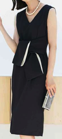 DRESS LAB リボン 袖なし ワンピース ドレス 結婚式 フォーマル パーティードレス