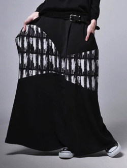 antiqua 柄変形ロングスカート