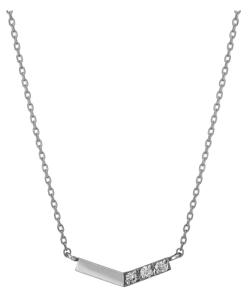 TAKE-UP(テイクアップ)K10 ダイヤモンド V字3石 ネックレス(WG)