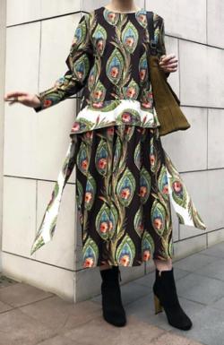 SAAAGE boutique ピーコックプリントドレス