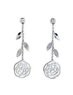CHANEL(シャネル)Camelia Ajoure 18k Gold Diamond Flower Drop Earrings