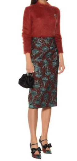 ROCHAS Oncidium floral pencil skirt