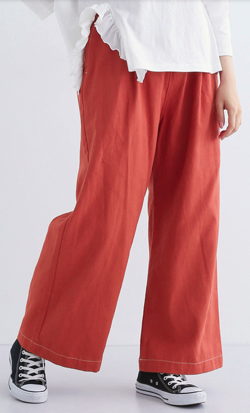 merlot(メルロー)ベルト付配色ステッチワイドパンツ