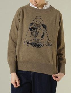 ADIEU TRISTESSE LOISIR イラストジャカードセーター