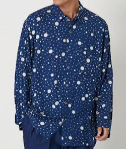 BLUE BLUE JAPAN レーヨンツイル バッセンワイドスリーブ リラックスシャツ