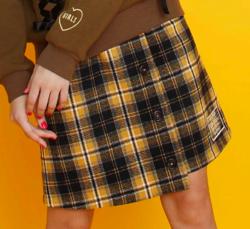 JENNIE belle チェック前ボタンスカート