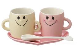 [ハート型ソーサー付き] なかよしペア ペアマグセット アイボリー&ピンク