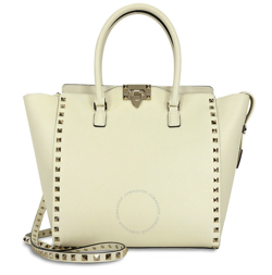 VALENTINO Rockstud Double Handle Leather Tote Bag