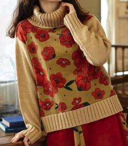 ふりふ 【雪椿】タートルニットセーター