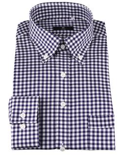 スーツセレクト 【SKINNY】ボタンダウンドレスワイシャツ/ネイビー&ホワイト×チェック/Oil guard