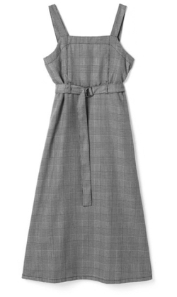 GRL ベルト付きグレンチェックバックプリーツジャンパースカート