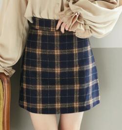 GRL チェック台形ミニスカート