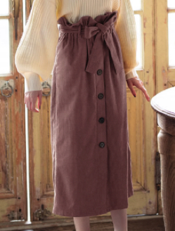 GRL(グレイル)ベルト付コーデュロイボタンスカート