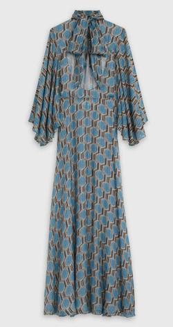 CÉLINE(セリーヌ) バックオープニング付きフリル ロングドレス