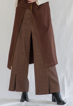 SALT+JAPAN HERRINGBONE HIGH WAIST PANTS