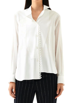 LOEWE(ロエベ)Lace Trim Asymmetric Shirt ホワイト