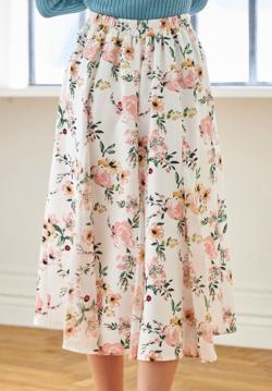 【tocco closet】ロマンティックに揺れるシフォン切替フラワープリントフレアスカート