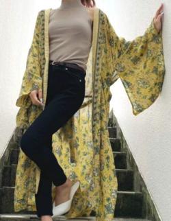 GYDA original flower kimono ロングガウン