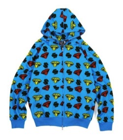 BILLIONAIRE BOYS CLUB DIAMOND & DOLLAR FULL ZIP HOODIE
