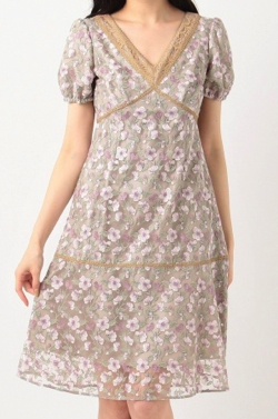 TOCCALAVENDER Ipe Flowers Embroidered ドレス