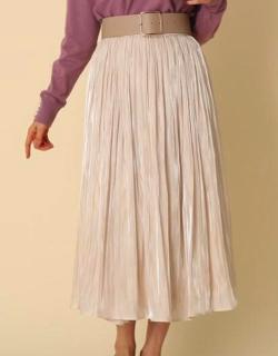 Couture Brooch オーロラサテンプリーツスカート