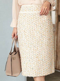 ANAYI カラーミックスツイードタイトスカート