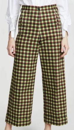 TOGA PULLA Cotton Twill Check Pants