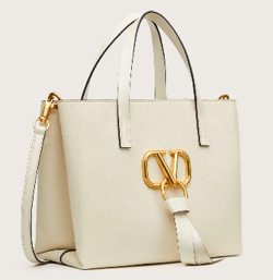VALENTINO E/W Vリング グレイン スモール ショッピングバッグ