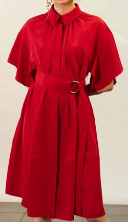 ADEAM Crimson Belted Shirt Dress