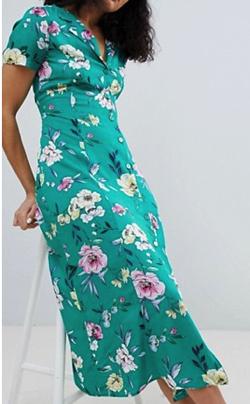 Bershka floral midi shirt dress