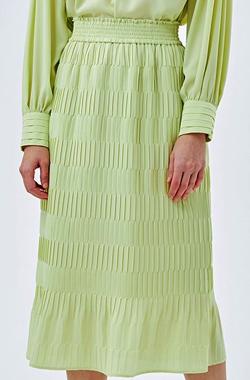 LANVIN en Bleu ジョーゼットプリーツタイトスカート