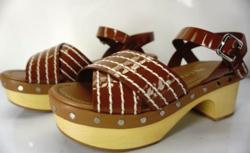 PRADA Patent White Stitch Trim Studded Wood Heel Platform Clog Sandals