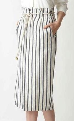 PINKY&DIANNE ロープベルト付麻混ストライプスカート