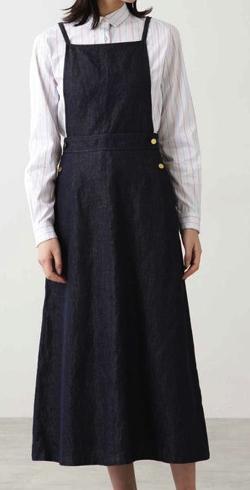 HUMAN WOMAN 綿麻反応染めライトデニムスカート