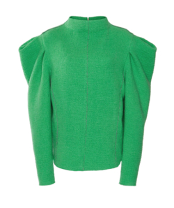 ISABEL MARANT Delphina Puffed-sleeve Wool Top In Green
