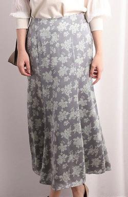 ViS  単色花柄サテンマーメイドスカート