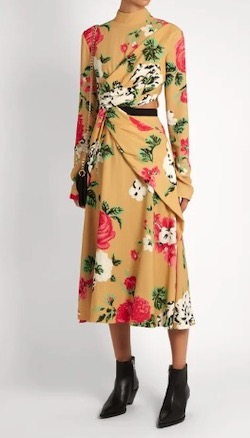 MSGM(エムエスジーエム)High-neck floral-print crepe dress