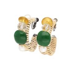 ADER.bijoux VINTAGE BEADS beads rattan hoop earring(green)