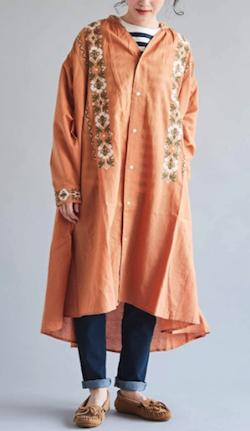CUBE SUGAR インド 綿麻スラブ×刺繍 Vネック ギャザーワンピース
